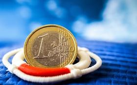 Обои евро, монета, спасательный круг, денежка, SOS