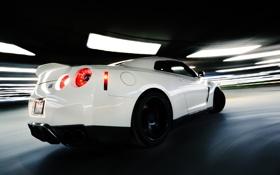 Обои Nissan, white, gtr, speed, back