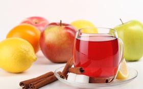 Обои корица, яблоки, блюдце, ломтик, сахар, напиток, чашка