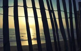 Картинка песок, море, лето, солнце, лучи, природа, фон