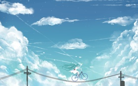 Картинка небо, девушка, облака, велосипед, столбы, провода, аниме