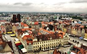 Обои дома, Польша, панорама, вид сверху, улицы, Wroclaw