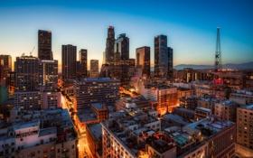 Картинка закат, Лос-Анджелес, вечер, США, огни, панорама, дома