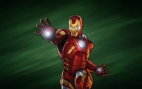 Картинка зеленый фон, железный человек, красный броник, iron man
