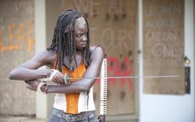 Обои катана, сериал, The Walking Dead, Ходячие мертвецы, Michonne, Danai Gurira, Мишонн