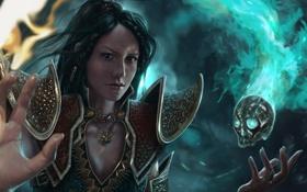 Обои девушка, магия, череп, рука, Diablo III, wizard, Reaper of Souls
