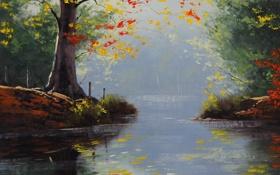 Обои рисунок, арт, Artsaus, Fall Lake Colors
