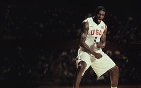 Обои Игра, Спорт, Баскетбол, USA, Nike, LeBron James, Сборная
