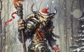 Картинка зима, снег, шапка, новый год, кольцо, арт, факел