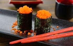 Обои роллы, икра, sticks, rolls, японская кухня, Japanese cuisine, eggs