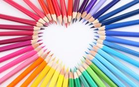 Обои сердце, карандаши, рисование
