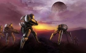 Обои облака, закат, оружие, люди, фантастика, планета, робот