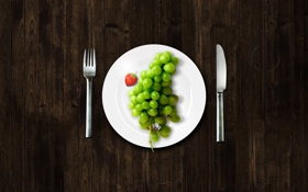 Картинка plate, grapes, fork, knife