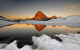 Картинка закат, снег, небо, озеро, гора