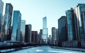Картинка зима, река, лёд, небоскребы, Чикаго, USA, Chicago