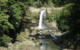 Обои деревья, ручей, камни, скалы, листва, водопад, русло