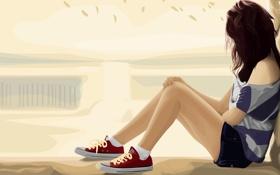 Картинка грусть, девушка, поза, настроение, волосы, шорты, вектор