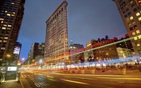 Картинка США, ночь, окна, улица, огни, трассы, Нью-Йорк