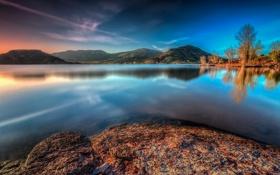 Картинка осень, горы, озеро, Франция, Сель, Лангедок-Руссильон