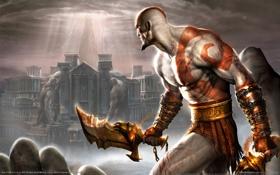 Обои кровь, здания, Греция, колонны, blood, мечи, God of war 2