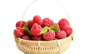 Обои ягоды, малина, корзина