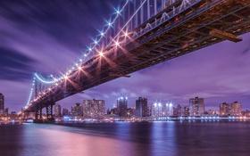 Обои ночь, мост, огни, отражение, река, Нью-Йорк, Манхеттен