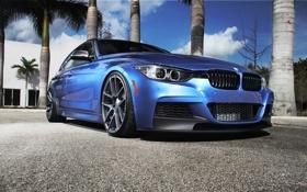 Картинка синий, бмв, BMW, blue, tuning, F30, 3 серия