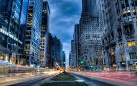 Обои дорога, машины, город, размытие, мегаполис