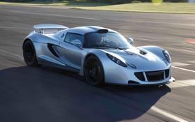 Обои скорость, трасса, суперкар, Hennessey, Venom GT, быстрый