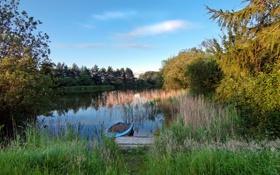 Картинка лес, озеро, лодка, вечер