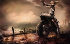 Картинка девушка, игра, мотоцикл, Fallen Earth, сумерки. дождь