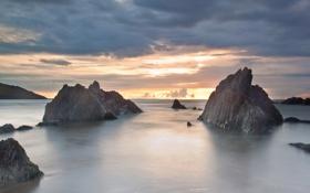 Картинка море, закат, природа, гладь, скалы