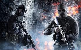 Картинка автомат, маска, очки, Поле Битвы 3, Battlefield 3, противогаз, оружие