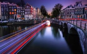 Обои мост, огни, дома, вечер, выдержка, Амстердам, канал