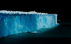Картинка лед, море, вода, ночь, стена, айсберг, льдина