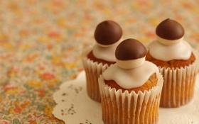 Обои грибы, три, украшение, десерт, выпечка, сладкое, салфетка