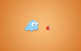 Обои фон, яблоко, червяк, дракончик