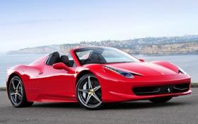 Картинка небо, красный, Феррари, Италия, панорама, Ferrari, суперкар