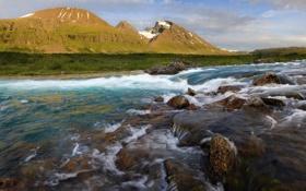 Обои вода, горы, река