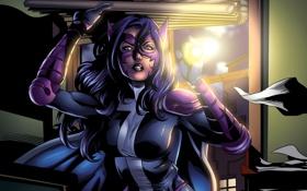 Обои девушка, арт, костюм, супергерой, dc comics, huntress, Helena Wayne