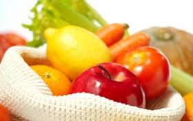 Обои лимон, яблоко, апельсин, фрукты, овощи, цитрусы, помидоры