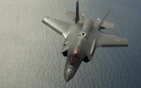Картинка море, истребитель, бомбардировщик, Lightning II, F-35