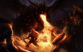 Обои пламя, дракон, бой, WoW, волшебница, World of warcraft, Deathwing