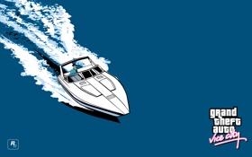 Обои море, арт, катер, классика, Grand Theft Auto, gta vice city, томми версетти
