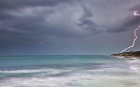 Картинка пейзаж, небо, природа, волны, молния, тучи, море
