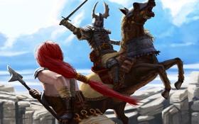 Обои рога, копье, скалы, девушка, меч, всадник, воин