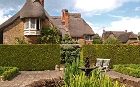 Обои Gower Oxfordshire, фото, Кусты, Город, Дома, Великобритания, Sibford