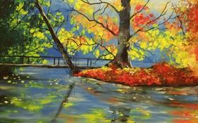 Картинка река, Basicsspace, деревья, природа, арт, мост, осень