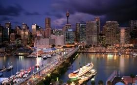 Картинка мост, огни, лодка, дома, вечер, яхта, Australia