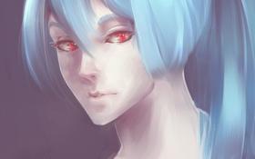 Обои взгляд, девушка, лицо, волосы, голубые